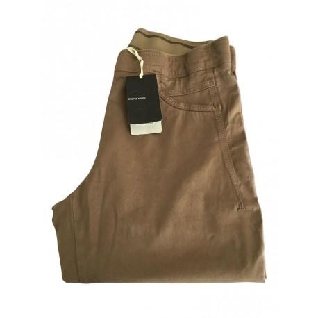 ELENA MIRO' pantalone donna tortora con elastico 98 % cotone 2 % elastan