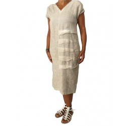 MyLab woman dress beige dyed cold 100% linen Made in Italy fit over