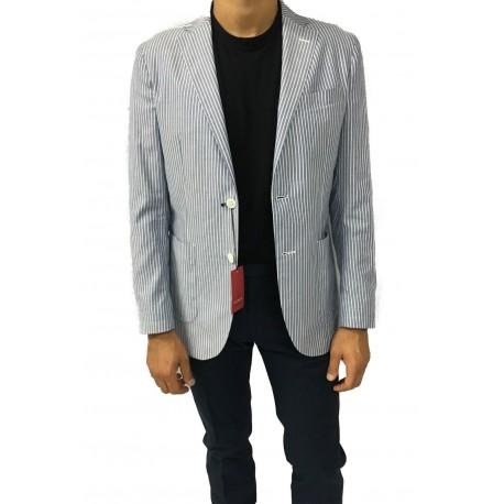 LUIGI BIANCHI giacca uomo sfoderata righe blu/ bianco 100% cotone
