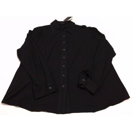 ELENA MIRO' camicia jersey nero con bottoni automatici 92% viscosa 8%elastan
