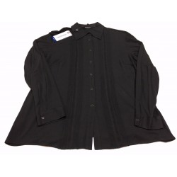 ELENA MIRÒ women's shirt jersey with lace inserts black, automatic buttons