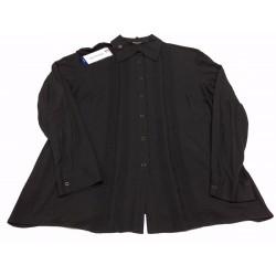 ELENA MIRO' camicia donna jersey con inserti in pizzo nero e bottoni automatici