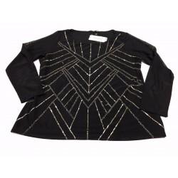 ELENA MIRO' maglia donna nera tulle con applicazioni 95% poliammide 5% elastan