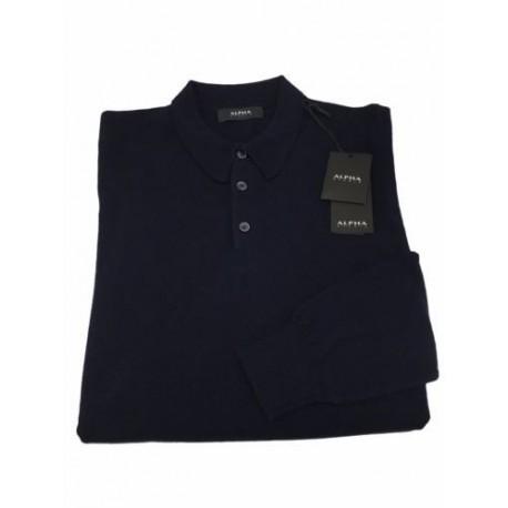 ALPHA STUDIO polo man blue 70% wool 30% cashmere