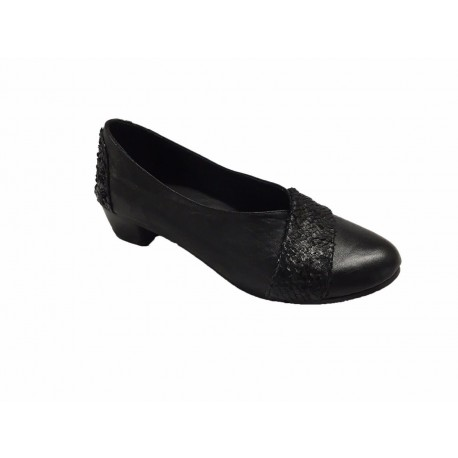 KUDETA' scarpa donna nero multimateriale tacco cm 3 mod 623403 MADE IN ITALY
