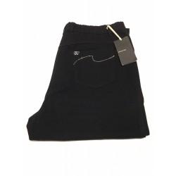 ELENA MIRO' pantalone donna con elastico in vita nero con applicazioni tasche posteriori 98% cotone 2% elastan (23 - IT 52)