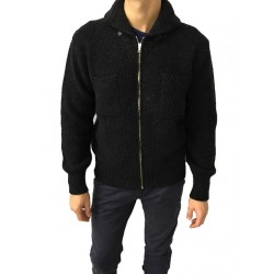 GRP blouson man with zipper, anthracite colored lambswool 100% MADE IN ITALY