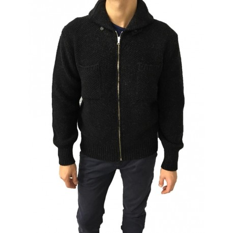 GRP blouson uomo antracite con zip 100% lambswool MADE IN ITALY