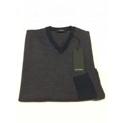 ALPHA STUDIO maglia uomo, collo a v, blu/viola/ruggine mélange 100% lana