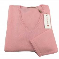 MONTAGUT maglia donna collo a v rosa vestibilità regolare 100 % cashmere