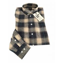 LEE 101 camicia uomo quadri ecru/grigio mod 101 BUTTON DOWN 100% lino regular fit