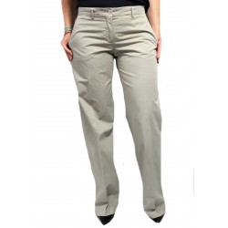 ASPESI women beige trousers mod H111 100% cotton bottom 27 cm