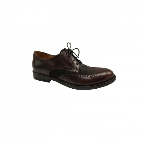 SEBOY'S Laced man shoe 100% mahogany leather and suede brown MADE IN ITALY