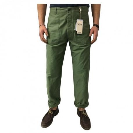 ASPESI pantalone uomo vita alta verde mod FATIGUE A CP13 F202 con bottoni 100% cotone MADE IN ITALY