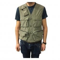 ASPESI man vest khaki multi-pocket model UMARELL I706 9974 65% polyester, 35% polyamide