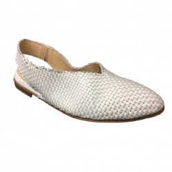 KUDETA' white woven women's shoes 713107 100% mod leather MADE IN ITALY