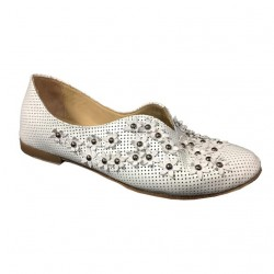 KUDETA' shoe woman in white perforated leather with applications, model 713304 MADE IN ITALY