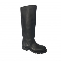 Kudeta' - woman black boots with rubber soles, 100% leather MADE IN ITALY