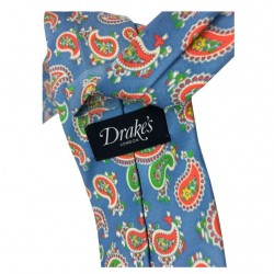 DRAKE'S lined tie man fantasy cm 8 100% Silk Made in Italy