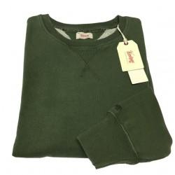 VINTAGE 55 felpa uomo verde garzata 100% cotone vestibilità slim