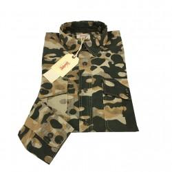 VINTAGE 55 camicia uomo mimetica manica lunga 100% cotone MADE IN ITALY vestibilità slim