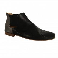 KUDETA' scarpa donna nero/antracite con elastico in tinta mod 713504 100% pelle MADE IN ITALY