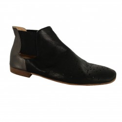 KUDETA' woman's shoe with 713,504 hack dyed elastic, black / anthracite 100% leather MADE IN ITALY