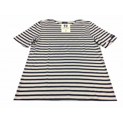 SAINT-JAMES t-shirt uomo mod LEVANT MODERNE ecru/marine 100% cotone MADE IN FRANCE