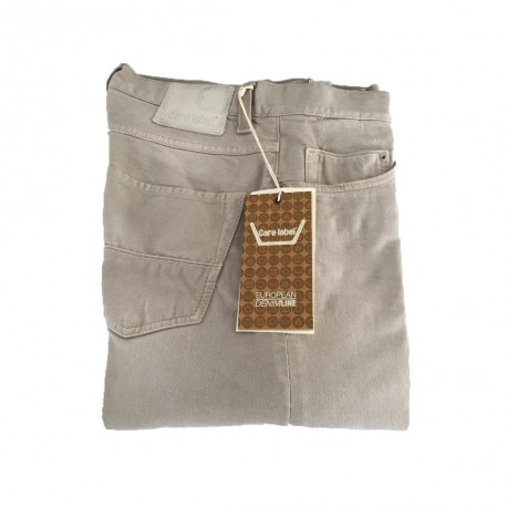 CARE LABEL jeans beige mod BOY SLIM man with 025 dry nut 98% cotton 2% elastane Made in Italy