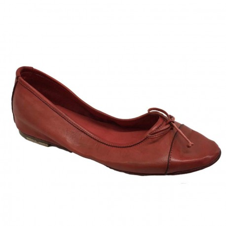 KUDETA' scarpa donna ballerina rosso 100% pelle MADE IN ITALY