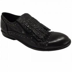 KUDETA' scarpa donna nera con frange e borchie antracite 100% pelle MADE IN ITALY