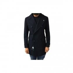 LUIGI BIANCHI MANTOVA cappotto uomo doppiopetto con martingala dietro, colore blu mélange