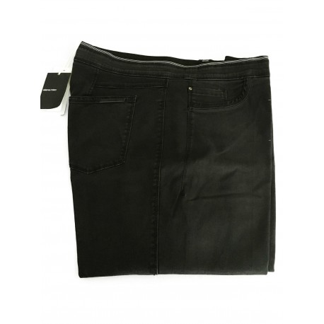 ELENA MIRO' pantalone donna con elastico nero con lavaggio used
