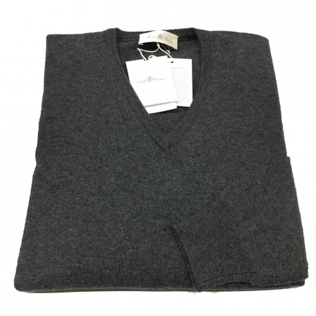 DELLA CIANA knit man to V Anthracite 80% wool 20% cashmere slim fit MADE IN ITALY