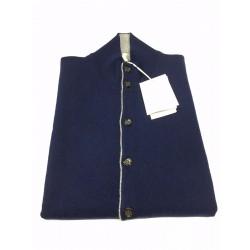 DELLA CIANA gilet uomo blu tampone profili grigio 80% lana 20% cashmere