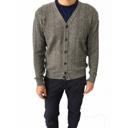 GRP man gray cardigan, vest + barbed front fabric, 50% alpaca 50% superfine merino wool MADE IN ITALY