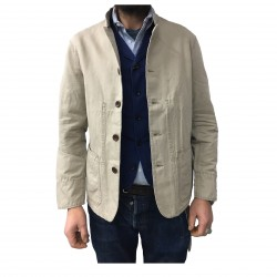 MANIFATTURA CECCARELLI men's jacket unlined beige mod 6013 76% cotton 24% linen MADE IN ITALY