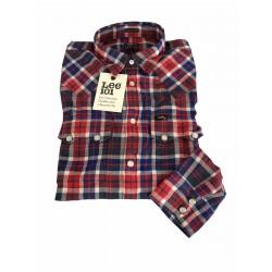 LEE 101 camicia uomo 101 RIDER SHIRT taglio western quadri blu/rosso