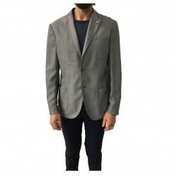 L.B.M 1911 giacca uomo sfoderata blu chiaro, tessuto operato, 100% cotone regular slim