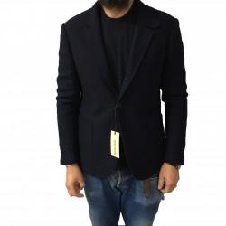 ROYAL ROW giacca uomo, colore blu operata, interno avio leggermente imbottita 100% lana MADE IN ITALY