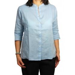 ASPESI camicia celeste donna collo coreano 100% lino mod H726