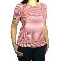ASPESI t-shirt donna rigata bianco/rosso 58% lino MADE IN ITALY