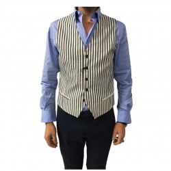 ROYAL ROW gilet uomo righe avorio/blu fodera blu mod DERBY V01 100% cotone MADE IN ITALY
