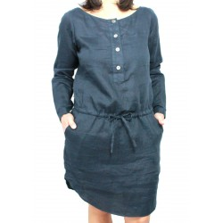 ASPESI women dress mod H606 blue linen 100%