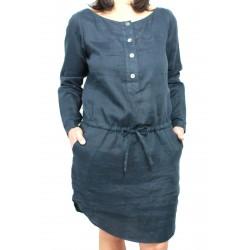ASPESI abito donna mod H606 blu 100% lino