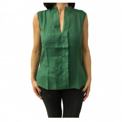 ASPESI Sleeveless Green shirt mod H805 C195 100% linen