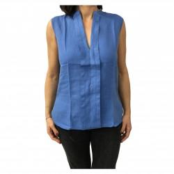 ASPESI Sleeveless light blue shirt mod H805 C195 100% linen