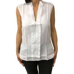 ASPESI Sleeveless white shirt mod H805 C195 100% linen