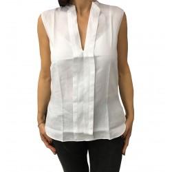 ASPESI camicia donna senza maniche bianco mod H805 C195 100% lino vest. regolare