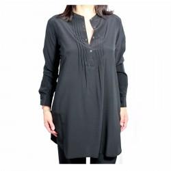 ASPESI black long shirt mod H701 B753 100% silk